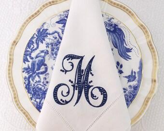 single initial monogrammed linen dinner napkin wedding gift monogrammed linen italian linen