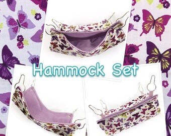 Purple butterfly hammock set, sugar glider cage set, gifts for pets, chinchilla beds, pet rat hammock