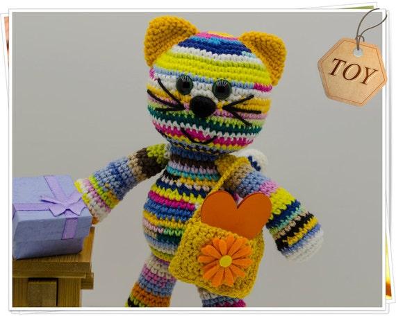 Crochet Cat Toy Amigurumi Kitty Toy Birthday Cat Toy Stuffed