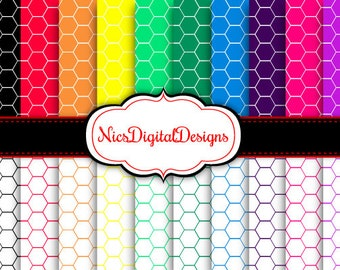 Buy 2 Get 1 Free-20 Digital Papers. Hexagons in RainbowColours (17C no 1) for Personal Use and Small Commercial Use Scrapbooking