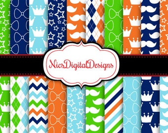 Buy 2 Get 1 Free-20 Digital Papers. Little Prince Patterns in Masculine Colours (13 no 5) for Personal Use and Small Commercial Use