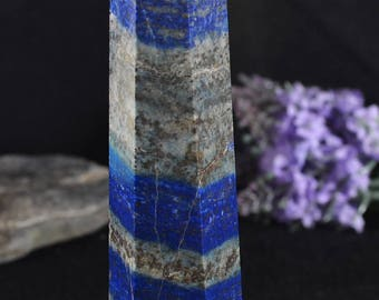"5.7""Natural Large Lapis Lazuli Tower/ Lazuli Tower/Energy Stone Ornaments/Healing stone of Lazuli tower-145*27*27mm 223g"