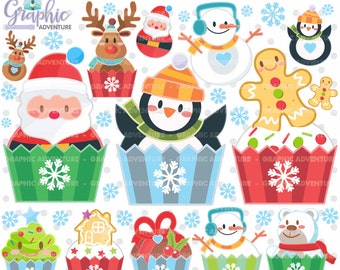 75%OFF - Christmas Clipart, Christmas Graphics, COMMERCIAL USE, Kawaii Clipart, Christmas Party, Christmas Cupcakes, Planner Accessories
