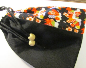 Japanese Black Floral Fabric Drawstring Pouch