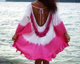 Backless Tassel Dress, Summer Mini Dress, Backless Cover Up, Beach Cover Up, Tassels Summer Dress, Ibiza Dress, Tie Dye, Light Green Dress,