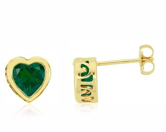 14K Yellow Gold Bezel Set Quality Lab Created Green Emerald Gemstone Heart Stud Earrings - 1.4ct - 6mm Heart - May Birthstone - Gift for Her