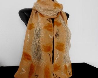Beige Lace and Merino Wrap, Lightweight Scarf with Lace, Orange Nuno Felting Scarf, Soft Long Felted Shawl, Wedding Scarves, Felt Lace Scarf