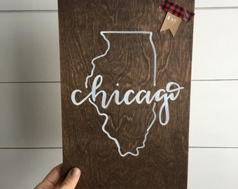 Chicago sign | chicago wood sign | wood sign | chicago art | chicago decor | home decor | state wood sign