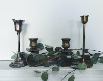 Set of Three Vintage Candleholders