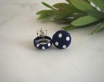 Navy Blue Earrings. White Polka Dots. Handmade Earrings. Fabric Covered Button Earrings. Stud Earrings. Drop Earrings. Clip On Earrings.