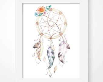 Dream Catcher Print, Dreamer Print, Dreamcatcher, Tribal Print, Tribal Decor, Native American, Nursery Decor, Girls Bedroom, Nursery Print