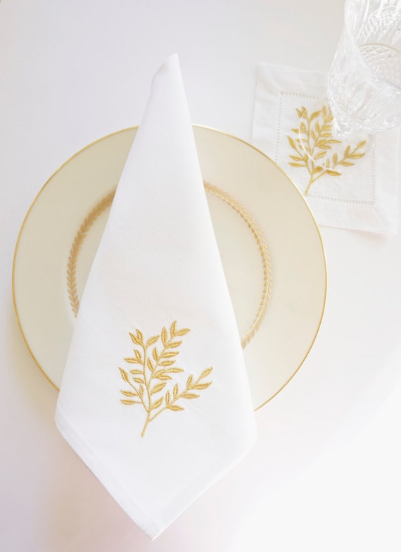 Gold leaf embroidered dinner napkins cocktail and