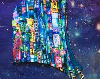 Subtitles Please Hood w/ Blue Holographic Lining Festival Hood//Rave//Dance