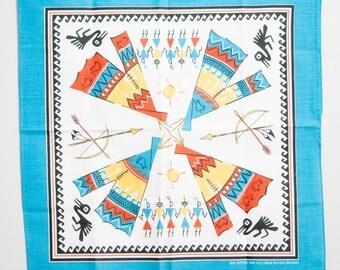 Vintage Native American Bandana blue tipi