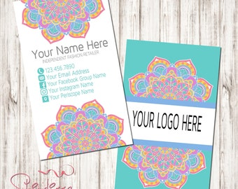 Custom Business Card, Business Card Design, Independent Consultant, flower, mandala
