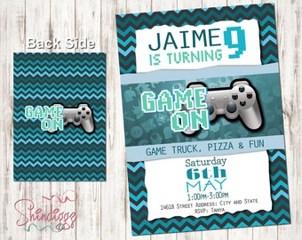 Video Game Truck birthday invitation, Video Game Party Invitations, Video Game Invitation, Video Game Birthday, Gaming Party, Game Party