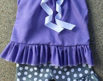 Purple and grey polka ruffle outfit, girls, toddler, personalized, pant outfit, ruffle outfit, christmas, thanksgiving, birthday outfit