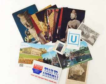 Vintage Ephemera Pack • 58 pieces, Art Scraps, Collage Supply • Buddha Japan, California, Belfast, Team America, Postcards, Turkish Family