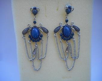 Vintage Earrings Saphir Earrings Lapiz Lazuli Women Spain Andalusien blue Earrings Silver Earrings Dangle Earrings Mom Gift Women