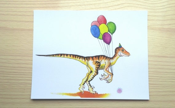 Velociraptor and his balloons