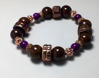 Brown stretch bracelet, women's bracelet  womens fashion bracelet, stack bracelet, boho