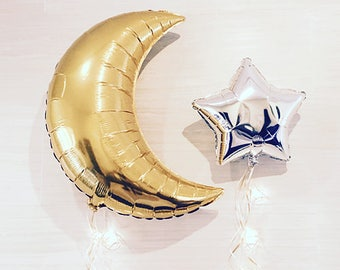 Giant Metallic Crescent/Star Balloon Party Pack!