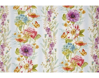 Rainbow Seeds Floral Border on natural, Wilmington Prints