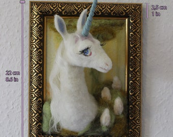 White Unicorn in the frame - needle felted wool - inspired by the film the last Unicorn - posierbar - fantasy from the magic forest