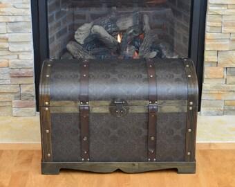 Round Top Victorian Steamer Trunk Wood Storage Wooden Treasure Chest