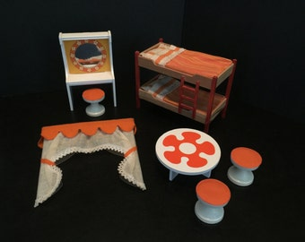 Lundby Vintage MCM Orange Bedroom Set | 1960-70s Dollhouse Miniatures | Bunkbeds Coffee Table Stools Vanity Curtains | 1:16 Scale