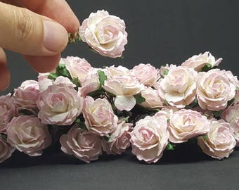 50 Pink Roses Paper Flowers for Wedding or Decorate your home