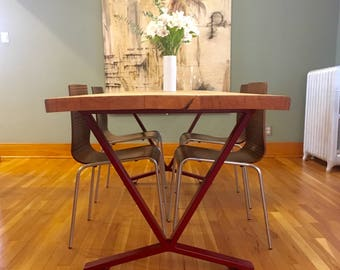 V Shaped Dining Table Base Industrial Set Of 2 Legs And 1