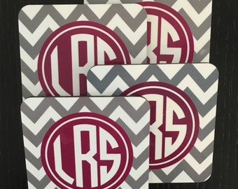 Custom Monogram ZigZag Coasters - Pick Your Initials and Colors, Set of 4, Holiday, Housewarming, Engagement, Wedding, Any Occasion Gift