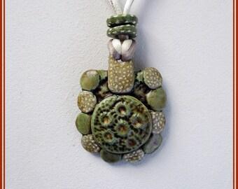 Green boho pendant, white hippie pendant, handmade pendant, pendant contemporary jewelry, pendant for her, green necklace present Christmas.