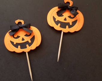 Bright Orange Pumpkin Cupcake Toppers, Halloween Cupcake Toppers, Halloween Party Cupcake Toppers or Food Picks, Party Food Picks
