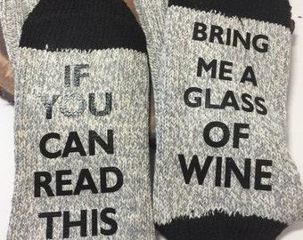 Wine socks. Conversation socks. Bring me a glass of wine socks. Stocking stuffer. Gift.