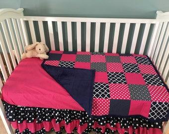 Patchwork Baby Quilt, Minky Blanket Girl, Baby Girl Quilt, Crib Quilt, Navy Baby Quilt, Pink Baby Quilt