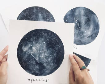Constellation Original Paintings, Galaxy art, Watercolor Paintings, Home Decor, Space Art