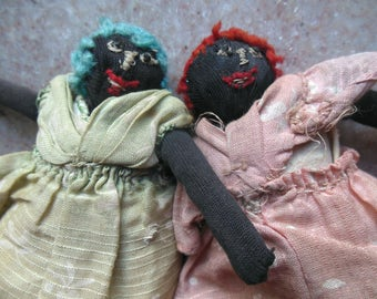 Antique Black Americana Cloth Twin Sister Dollhouse Pocket Doll Miniature Pair