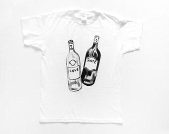 T-SHIRT Love-Hate / white wine - red wine / / HOMEMADE