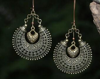 Hoop Earring Heart Dangle Earrings Boho Earrings Bohemian Jewelry Tribal Earring Hippie Earring Boho  Earring Heart Earring Tibetan Jewelry