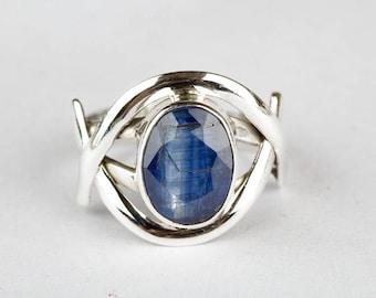Handmade Natural Kyanite Gemstone 925 Sterling Silver Ring, Healing Ring