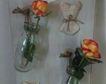 Porte fleurs mural patiné à l'ancienne