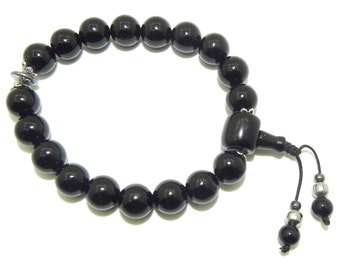 Wrist mala bracelet black onyx 10 mm and hematite buddhist bracelet mala