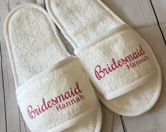 Bridal Wedding Slippers - Personalised for FREE! Bridesmaid slippers, Bride Slippers, Spa Slippers