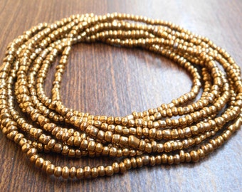 Antique gold beaded double wrap necklace, seed bead gold long necklace.