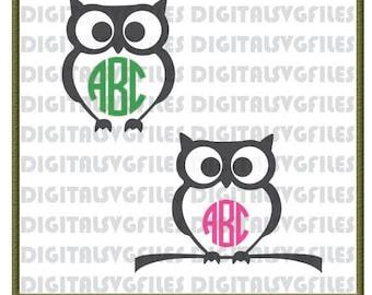 Digital File Owl svg, Owl Monogram svg, Owl dxf, Owl svg for Vinyl Cutting Machine, Owl Vector Art Files