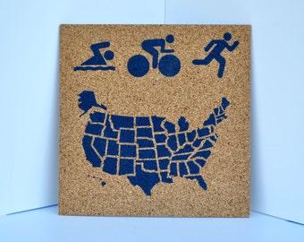 Triathlon - Pinnable Cork Map of the USA or World - Swim Bike Run Travel Map of the United States / Bulletin Board / Run 50 States