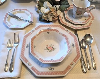 Vintage Cameo Rose China, 5pc Nikko Place Setting, Cottage Chic