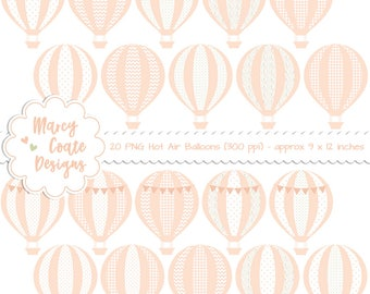 Peach Hot Air Balloon Clipart, PNG, baby girl, baby shower, wedding shower, chevron, dot, flower, floral, heart, star, commercial use OK